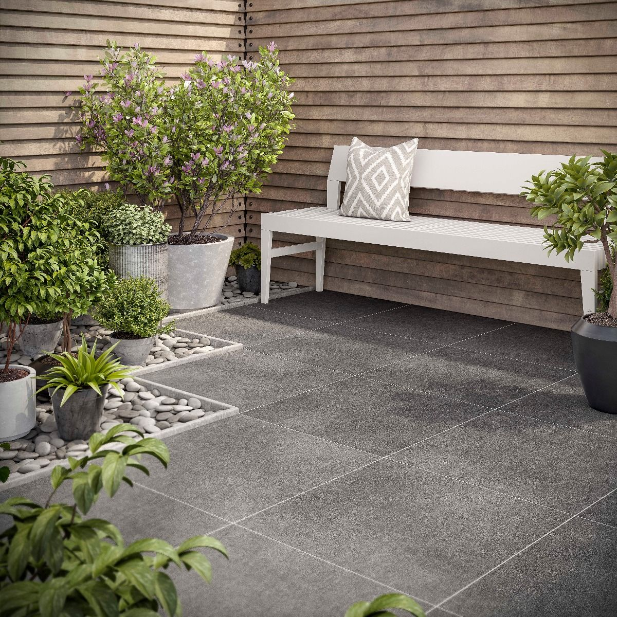 Al Fresco Emmett Black Matt Glazed Porcelain Outdoor Tile 600x600x20mm