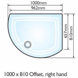 Kudos Concept 2 Offset Curved Shower Tray 1000x810mm Right Hand