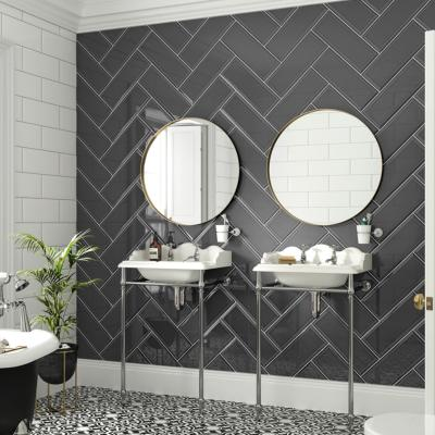 Johnsons Form Graphite Gloss Bevelled Edge Ceramic Metro Tile 400x150mm