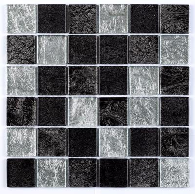 Verona Mosaic Black/Silver Leaf Mix Glass 30x30cm