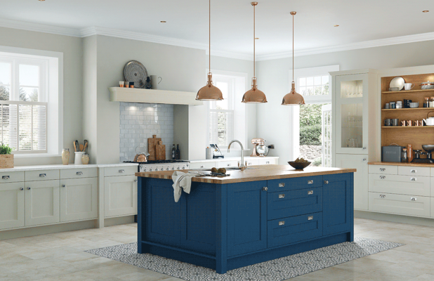 Purley - Parisian Blue and Mussel Shaker Kitchen