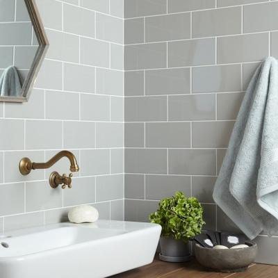 Central Grey Ceramic Wall Tile 10x20cm