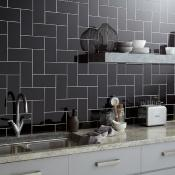 Central Black Ceramic Wall Tile 10x20cm