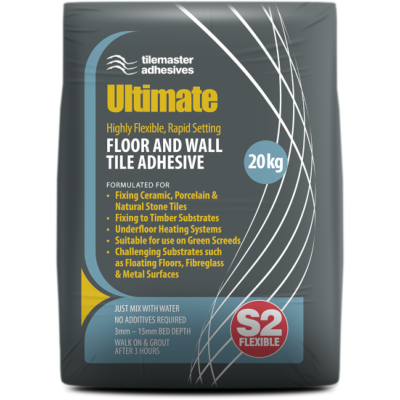Tilemaster Ultimate Flexible Rapid Set S2 Adhesive White 20kg