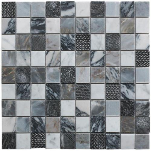Verona Mosaic Illusion Grey Polished Marble & Resin 30x30cm