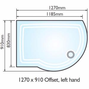 Kudos Concept 2 Offset Curved Shower Tray 1270x910mm Left Hand