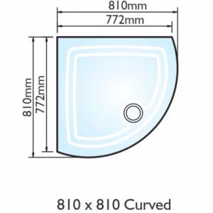 Kudos Concept 2 Curved Shower Tray 810x810mm