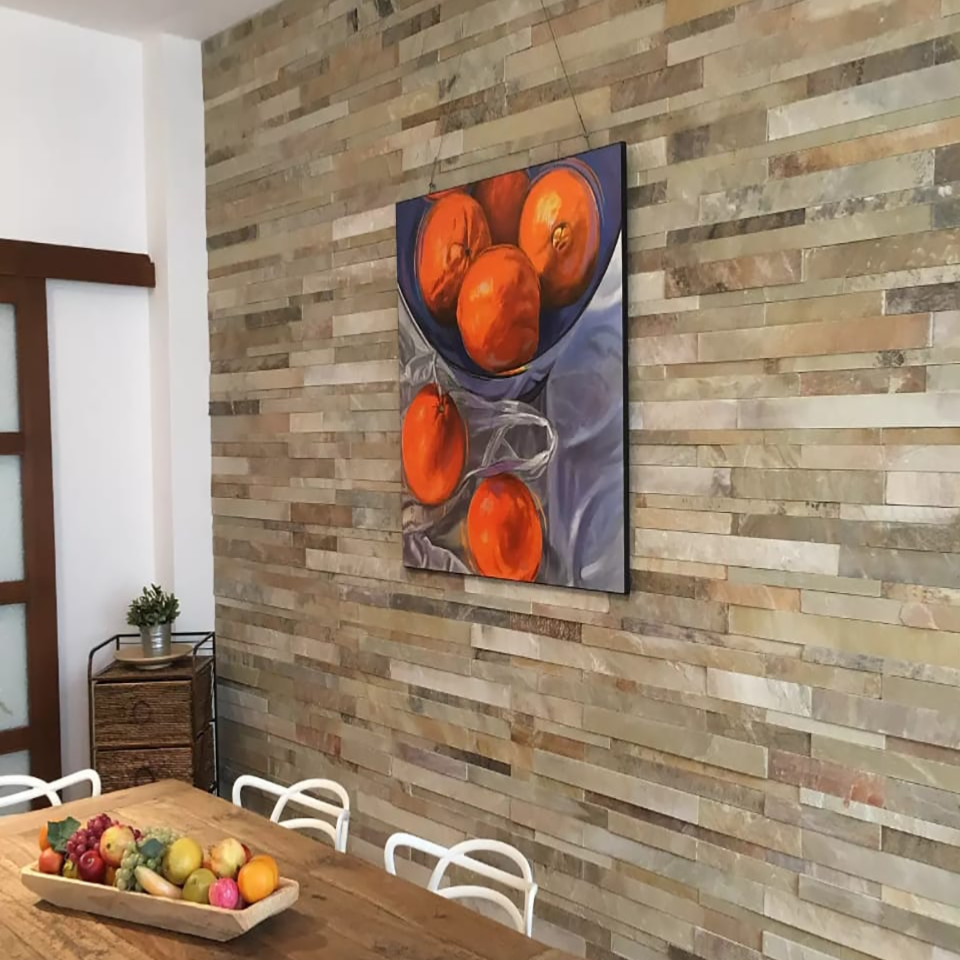 Splitface Multicolour Natural Stone Wall Cladding 15x60cm