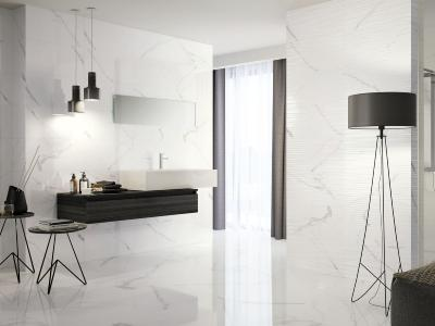 Carrara Marble Effect Gloss Tile 30x60cm