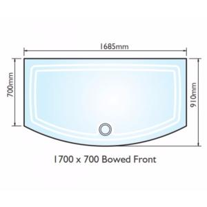 Kudos Concept 2 Bow Fronted Shower Tray 1700x700mm