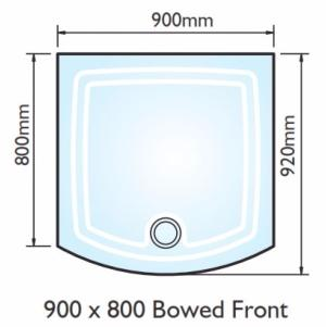 Kudos Concept 2 Bow Fronted Shower Tray 900x900mm