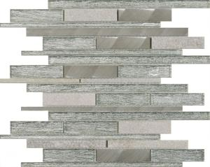 Silver GlassStone Metal Mix Offset Linear Mosaic Tiles Ahead - Belle stock b carrelage