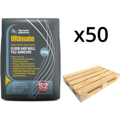 Tilemaster Ultimate Flexible, Rapid Set S2 Adhesive White (50 bag pallet )