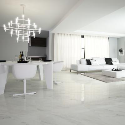 White Marble Effect Polished Porcelain Floor Tile 80x80cm