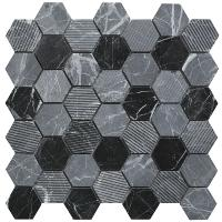 Premium Hexagon Midnight Stone Wall and Floor Mosaic 30x30cm