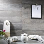 Dalby Grey Oak Wood Effect Porcelain Tile 15x60cm