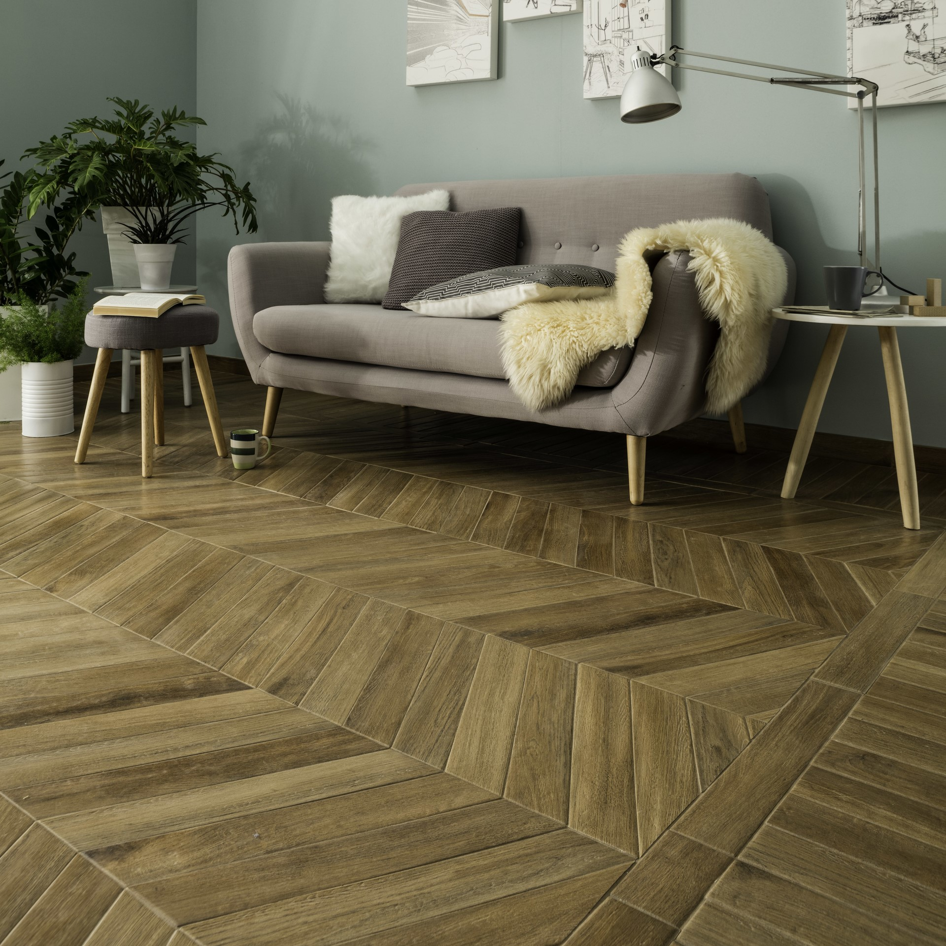 Chevron Wood Effect Parquet Look Porcelain