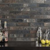 Bristol Dark Brick Effect Wall and Floor Tile 6x25cm
