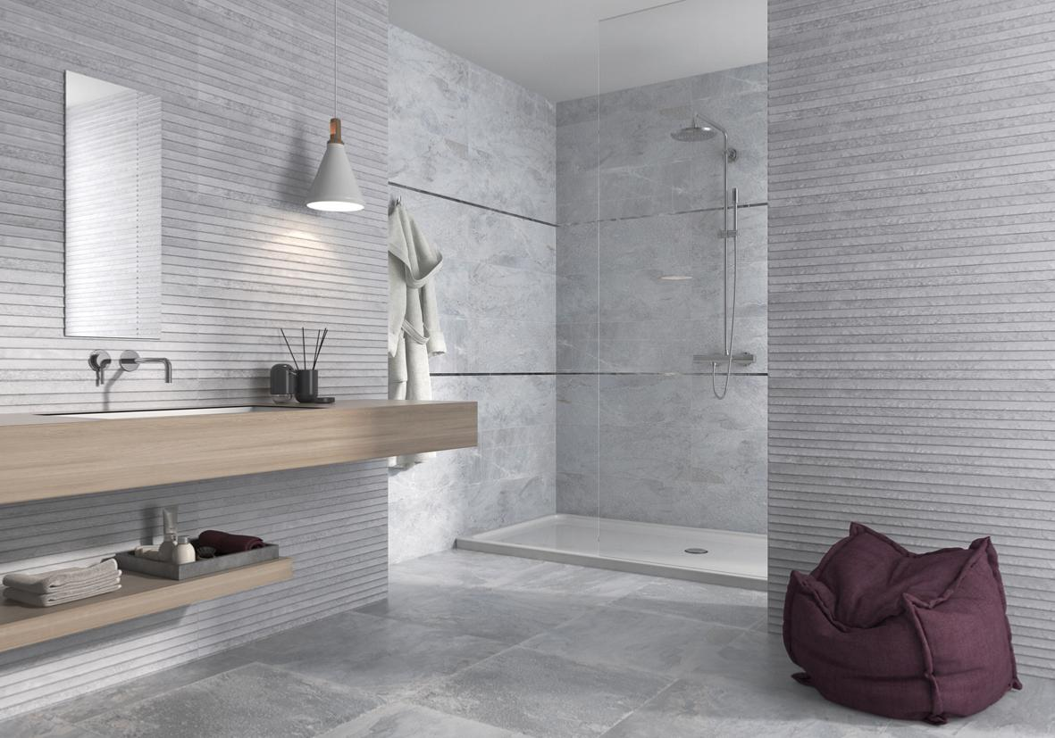 Nature grey wall and floor tile 37x75cm tiles ahead for Carrelage lapeyre salle de bains
