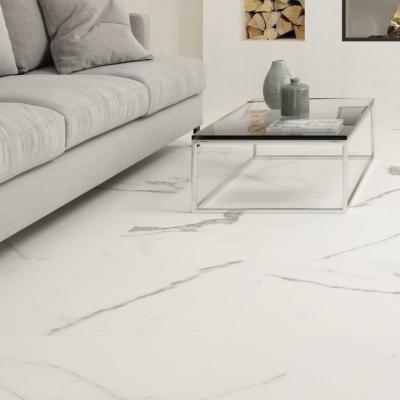 Carrara White Marble Effect Polished Porcelain Tile 60x60cm