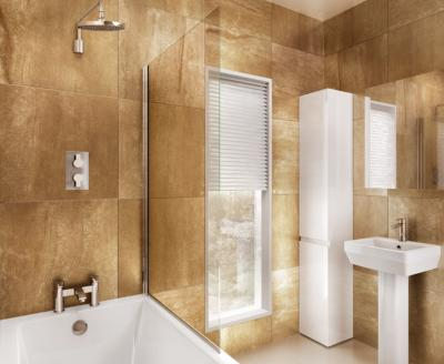 Britton Bathrooms 850mm Single Panel Bathscreen