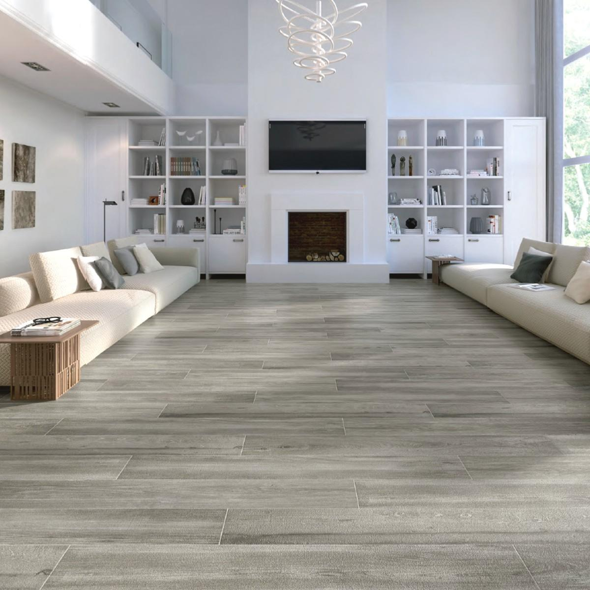 Fossilised Wood Pebble Stone Effect Ceramic Wall Floor: Alaplana Cleveland Taupe Wall And Floor Tile 23x120cm