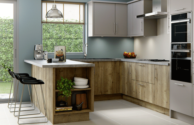 Linden Woodgrain - Natural Halifax Oak Wood Effect Kitchen