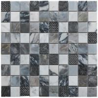Illusion Grey Polished Marble & Resin Mosaic 30x30cm