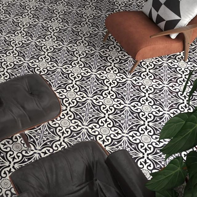 Devonstone Black Satin Floor Tile 33x33cm