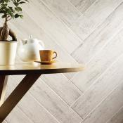 Kielder White Wood Effect Porcelain Tile 15x90cm