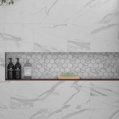 Kendal Bianco Hexagon Marble Effect Mosaic Tile 55x55mm