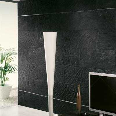 Pizzara Black Riven Effect Porcelain Tile 31.6x63.5cm