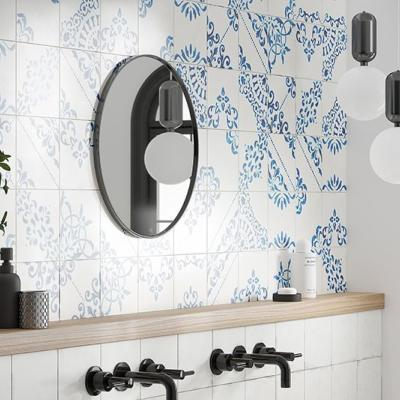 Verona Crafted Blanc Bleu Patchwork Glazed Porcelain 185x185mm
