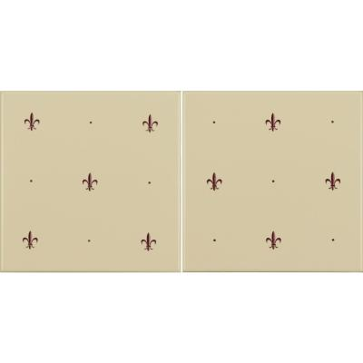 Original Style Fleur de Lis Burgundy on Colonial White (2 Tile Set) 15.2x15.2cm