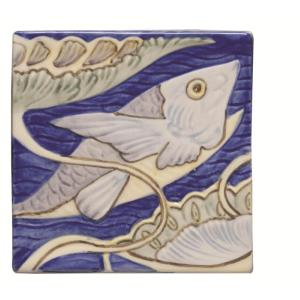 Original Style Classic Fish Frieze 4 William de Morgan Tile 10x10cm