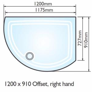 Kudos Concept 2 Offset Curved Shower Tray 1200x910mm Right Hand