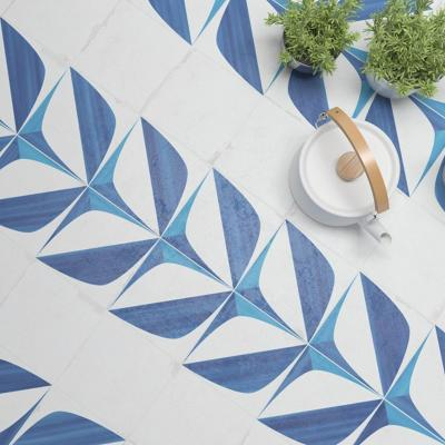 Verona Crafted Blanc Bleu Leaf Glazed Porcelain 185x185mm