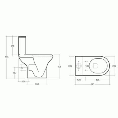 RAK Compact Close Coupled Open Back WC and Soft Close Seat