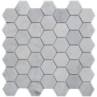 Verona Fog Stone Hexagon Mixed Finish Marble Mosaic 30x30cm