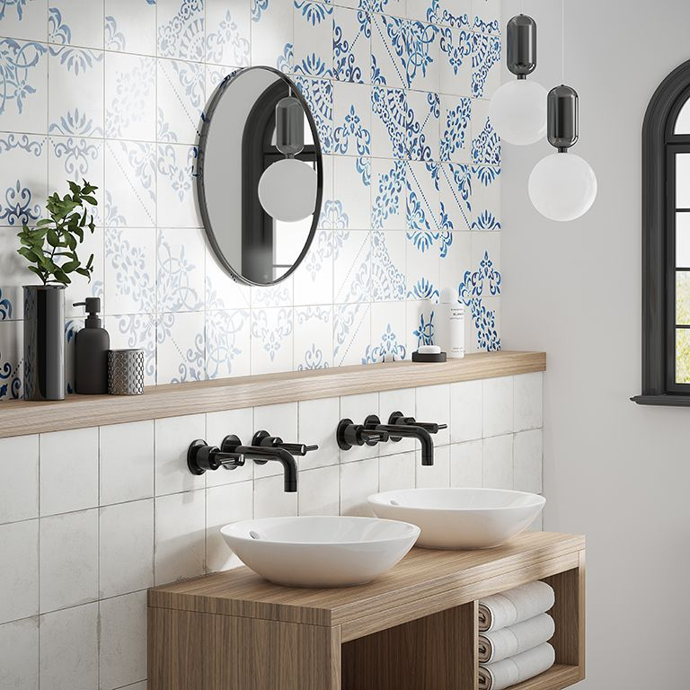 French Craft Patterned Bathroom Tiles