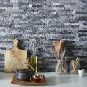Zeus Nero Multifinish Split Face Slate Cladding 100x360mm