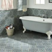 Original Style Odyssey Grande Knightshayes Dark Blue & Light Blue on Grey Tile 29.8x29.8cm