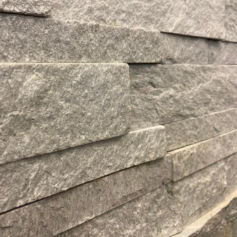 Splitface Snow White Natural Stone Wall Cladding 15x60cm