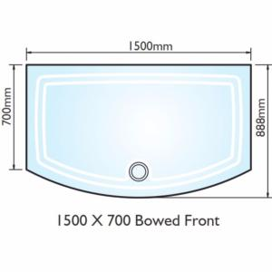 Kudos Concept 2 Bow Fronted Shower Tray 1500x700mm