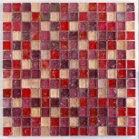 Hammered Pearl Pink Glass Mosaic 30x30cm