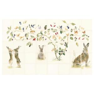 Original Style Classical Family of Hares 40 Panel Ceramic Tile