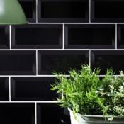 Metro Black Wall Tile 10x20cm