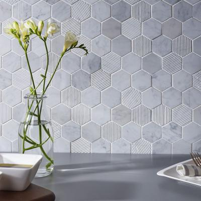 Fog Stone Hexagon Mixed Finish Marble Mosaic Tile 30x30cm