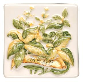 Original Style La Belle Basil Relief Moulded Hand Painted on Clematis 10x10cm