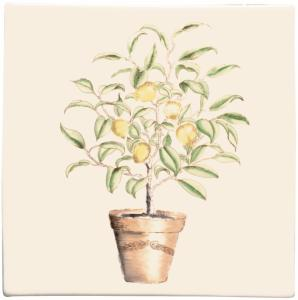 Original Style Classic Potted Lemon Tree Plaque Ceramic Tile